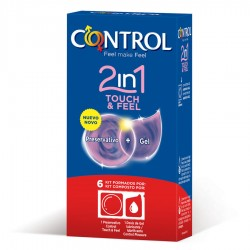 CONTROL 2 IN ONE TOUCH AND FEEL + LUBRICANTE 6 UNIDADES