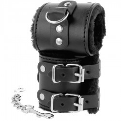 DARKNESS WRIST RESTRAINTS BLACK WITH FUR