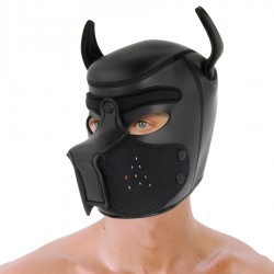 DARKNESS NEOPRENE DOG HOOD WITH REMOVABLE MUZZLE L