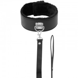 DARKNESS COLLAR WITH LEASH TITANIUM