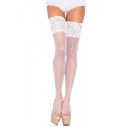 LEG AVENUE PLUS TAILLE STAY UP SHEER WHITE