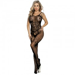 QUEEN LINGERIE OPEN CROTHLESS BODYSTOCKING FLOWER LACES SL