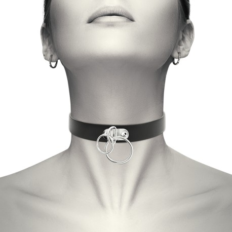 COQUETTE HAND CRAFTED CHOKER VEGAN LEATHER - DOUBLE RING