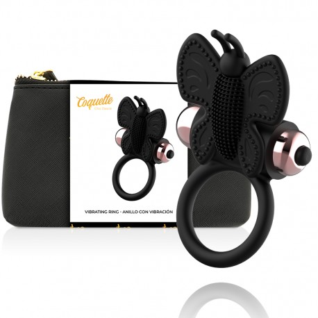 COQUETTE COCK RING BUTTERFLY VIBRATOR RING NOIR / OR