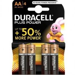 PILE ALCALINE DURACELL PLUS POWER AA LR6 BLISTER * 4