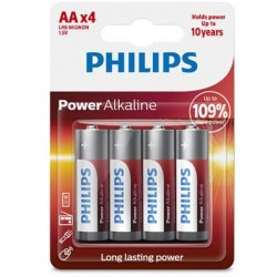 PILE ALCALINE PHILIPS POWER AA LR6 BLISTER * 4
