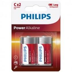 PLAQUETTE PHILIPS POWER ALCALINE PILA C LR14 * 2