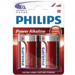 BLISTER PHILIPS POWER ALCALINE PILA D LR20 * 2