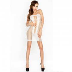 PASSION WOMAN BS027 BODYSTOCKING DRESS STYLE BLANC TAILLE UNIQUE