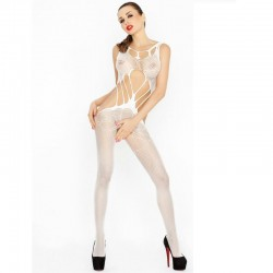 PASSION WOMAN BS030 BODYSTOCKING BLANC TAILLE UNIQUE