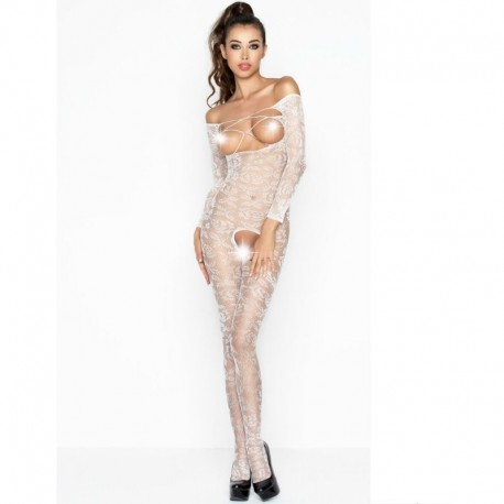 PASSION FEMME BS031 BODYSTOCKING BLANC TAILLE UNIQUE