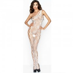 PASSION WOMAN BS036 BODYSTOCKING BLANC TAILLE UNIQUE