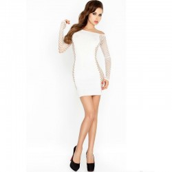 PASSION WOMAN BS025 ROBE BODYSTOCKING STYLE BLANC TAILLE UNIQUE